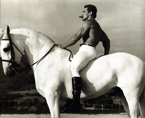 Arnold Schwarzenegger, Malibu, California, 1988, photograph by Annie Leibovitz.